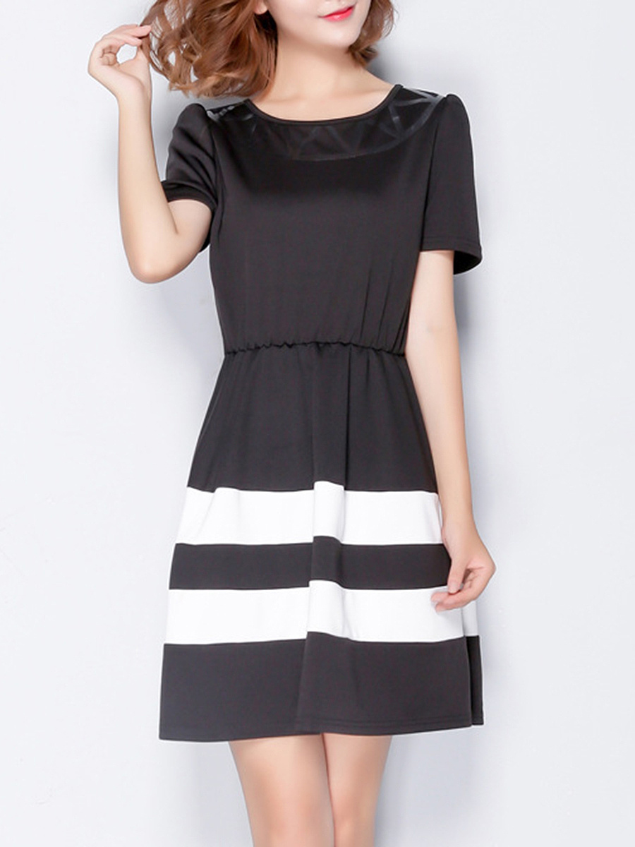 Color Block Striped Round Neck Skater Dress