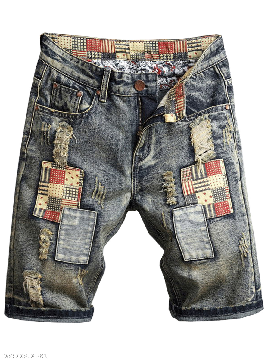 Patch Pocket Patchwork  Ripped  Slim-Leg  Mid-Rise Casual  Shorts