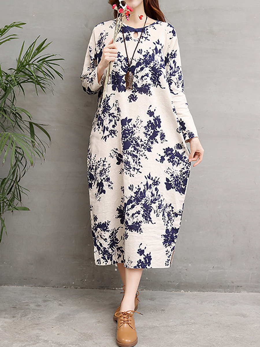 Round Neck Keyhole Pocket Printed Sack Maxi Dress