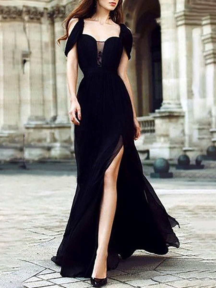 Spaghetti Strap Side Slit Plain Maxi Dress