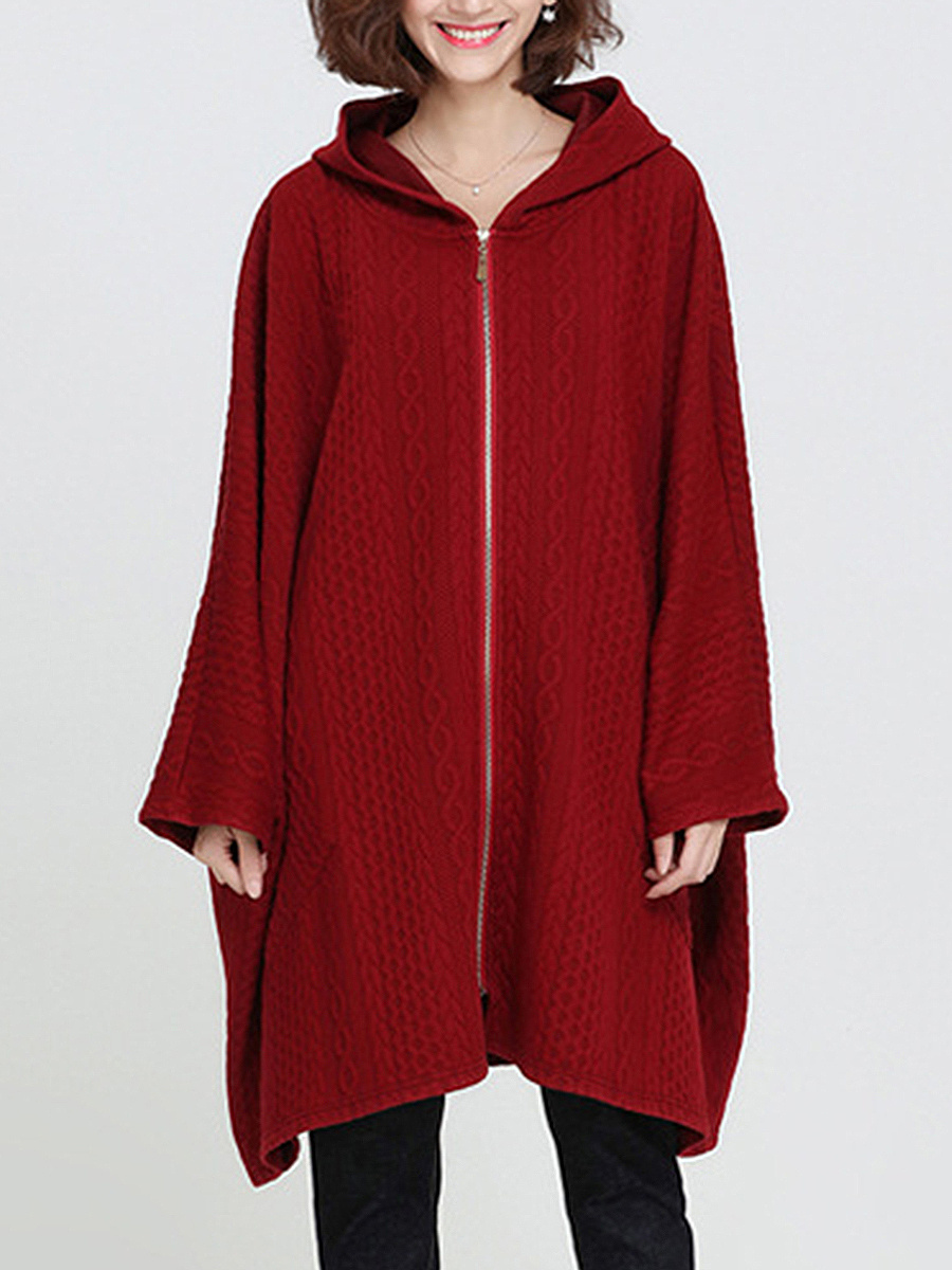 Oversized Hooded Patch Pocket Plain Cape Sleeve Coat