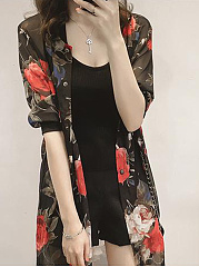 Floral Printed Hollow Out Longline Blouse