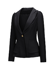 Notch Lapel Peplum Single Button Plain Blazer