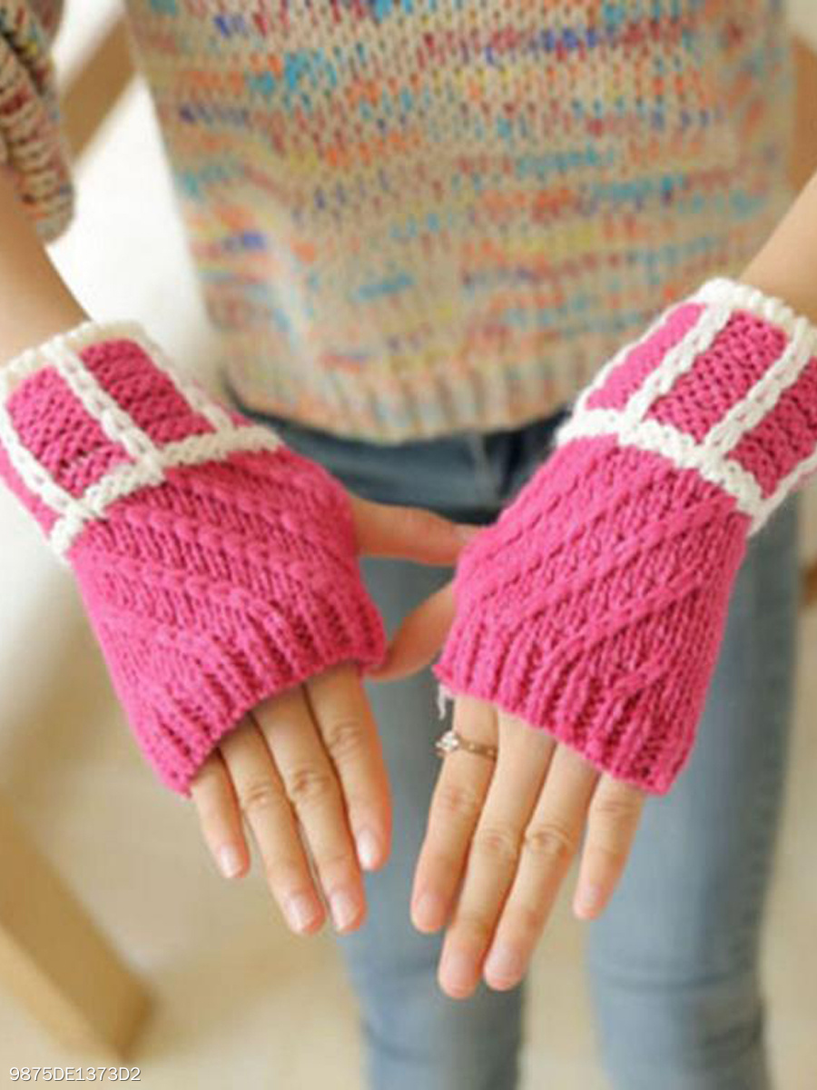 Warm Short Stylish Plain Knitted Plaid Gloves