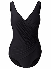 Ruched-Deep-V-Neck-Solid-One-Piece
