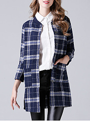 Collarless  Single Breasted  Plaid  Long Sleeve Coats
