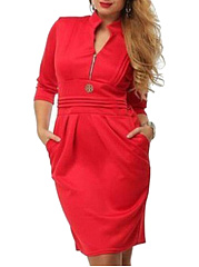 Split Neck  Plain Plus Size Bodycon Dress