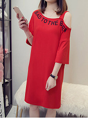 Asymmetric Neck  Letters Shift Dress