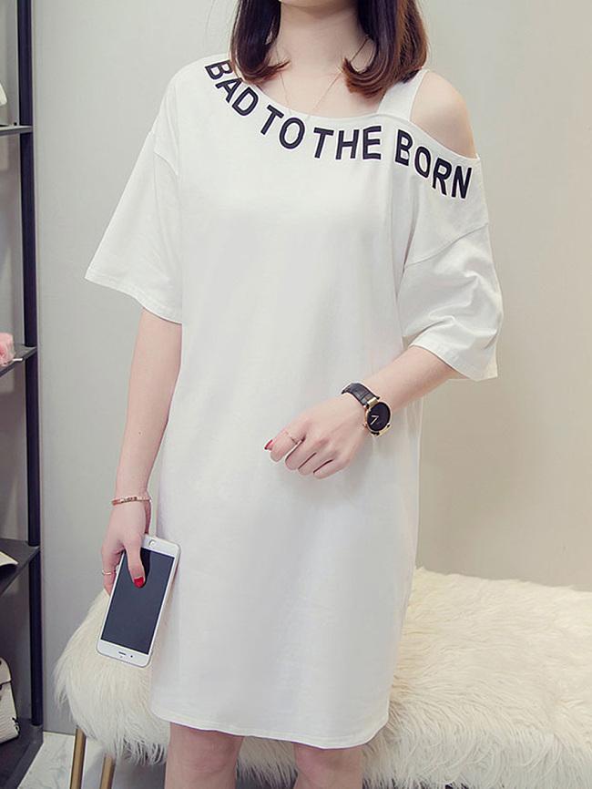 Image of Fashionmia Asymmetric Neck Letters Shift Dress