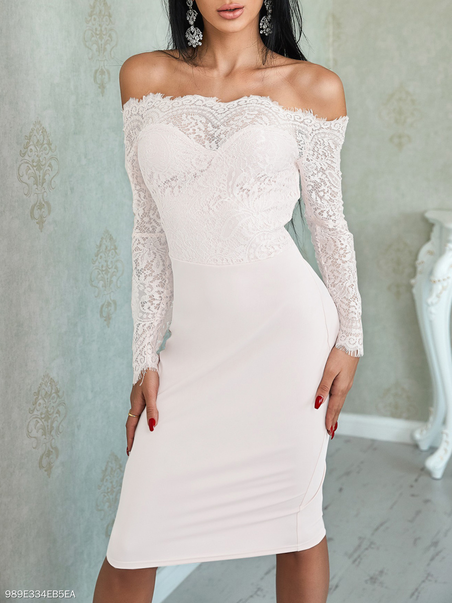 Open Shoulder  Lace Bodycon Dress