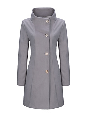 High Neck  Single Breasted Plain Woolen Coat