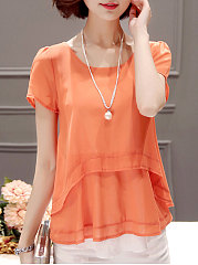 Summer  Chiffon Polyester  Women  Round Neck  Asymmetric Hem  Plain  Short Sleeve Blouses