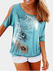 Spring Summer  Polyester  Women  Round Neck  Feather Printed  Half Sleeve Printed-Shirts