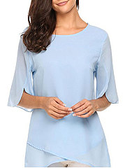 Summer  Chiffon  Women  Round Neck  Asymmetric Hem  Plain  Half Sleeve Blouses