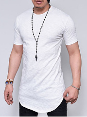 Collarless  Plain  Short Sleeve Short Sleeves T-Shirts