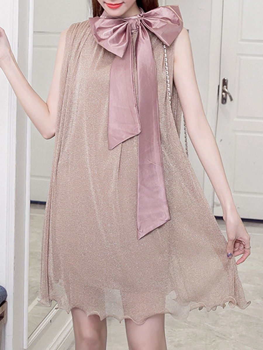 Band Collar Bowknot Shift Dress