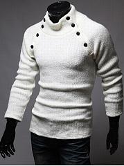 High-Neck-Decorative-Button-Plain-Men-Sweater