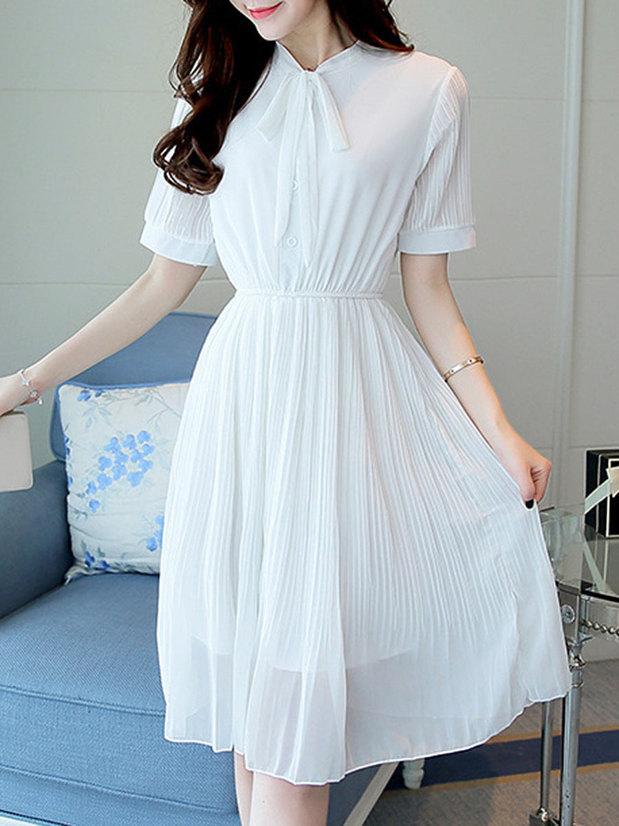 Tie Collar  Elastic Waist  Plain  Chiffon Skater Dress