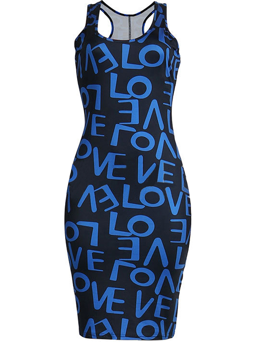 Round Neck Racerback Letters Polyester Bodycon Dress