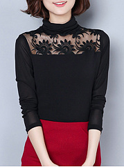 Autumn Spring  Polyester  Women  High Neck  See-Through  Floral Plain Long Sleeve T-Shirts