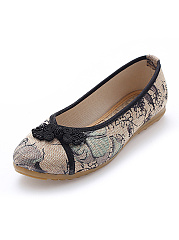 Unique Printed Decorative Button Ballerinas