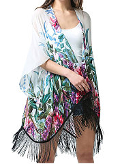New Style Decrotive Tassel Abstract Print Kimono For Women