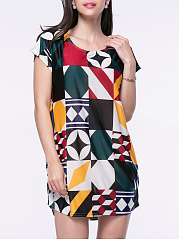 Color Block Geometric Mini Shift Dress