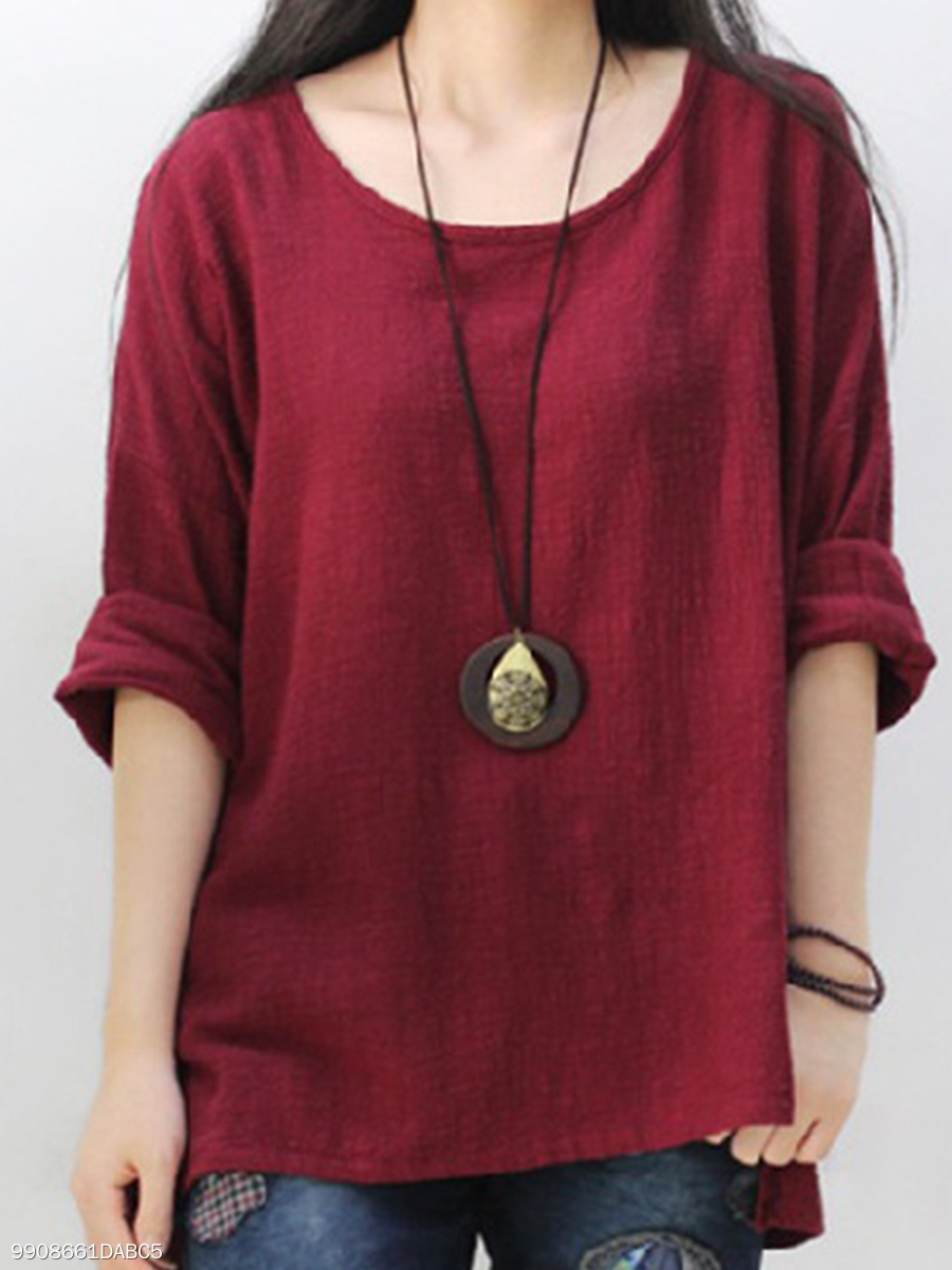 Cotton/Linen  Women  Round Neck  Plain  Long Sleeve Long Sleeve T-Shirts