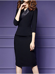 Turn Down Collar  Plain Bodycon Dress