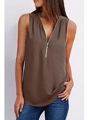 Summer  Chiffon  Women  V-Neck  Zips  Plain  Sleeveless Blouses