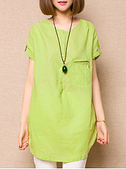 Spring Summer  Linen  Women  Round Neck  Asymmetric Hem Zips  Plain  Short Sleeve Blouses