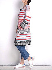 Collarless  Patch Pocket  Striped  Kimono Sleeve Cardigans