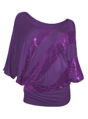 Round Neck  Patchwork  Glitter  Plain  Batwing Sleeve Plus Size T-Shirts
