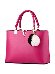 Fur Ball V Shape Decorative Candy Color Shoulder Bag