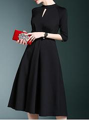 Band-Collar-Plain-Polyester-Evening-Dresses