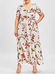 V-Neck  Elastic Waist  Belt  Printed Plus Size Midi & Maxi Dresses