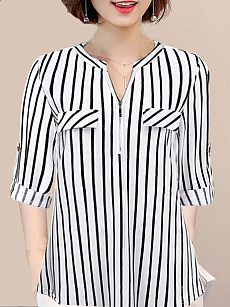 V Neck  Fashion  Striped  Long Sleeve Blouse