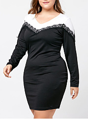 V-Neck  Decorative Lace  Color Block Plus Size Bodycon Dress