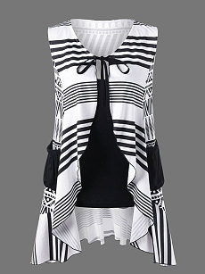 Summer  Cotton  Women  Tie Collar  Patch Pocket  Striped Sleeveless T-Shirts