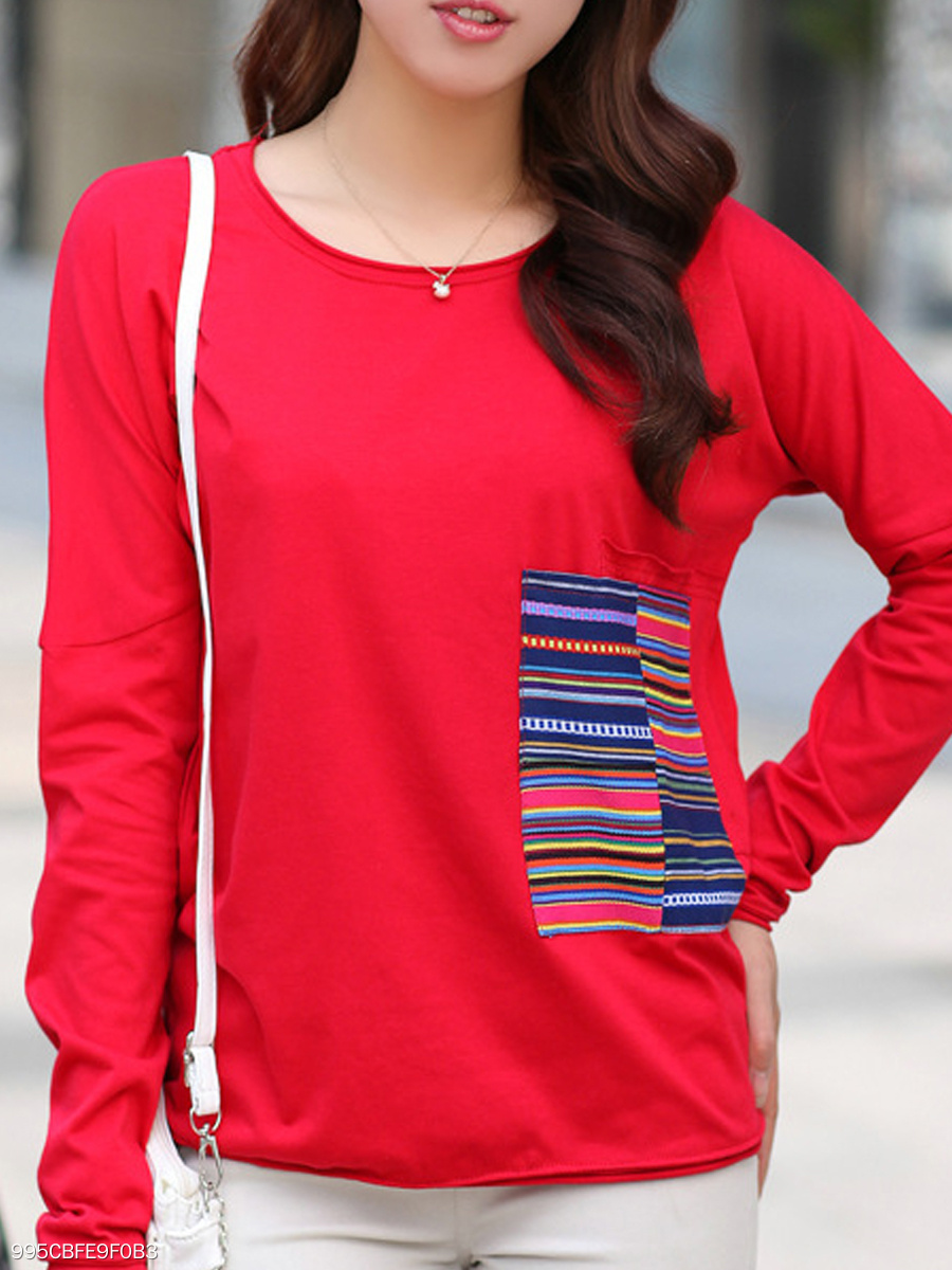 Autumn Spring Winter  Polyester  Women  Round Neck  Striped  Long Sleeve Long Sleeve T-Shirts