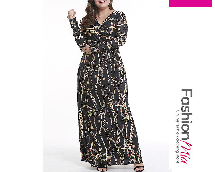 V-Neck  Lace-Up  Abstract Print Plus Size Midi  Maxi Dress