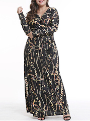 V-Neck  Lace-Up  Abstract Print Plus Size Midi & Maxi Dress