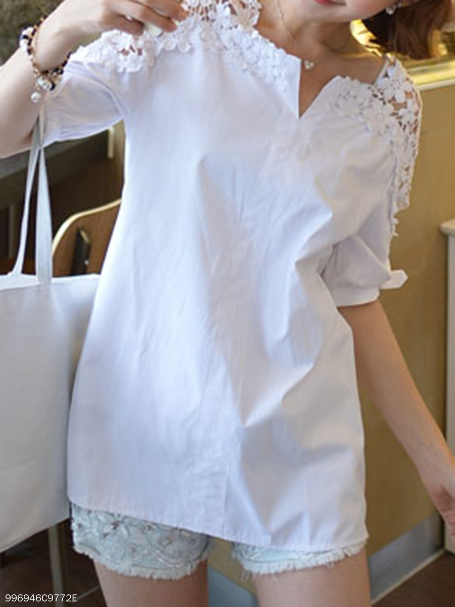 62478ce0968 Spring Summer Cotton Women V-Neck Decorative Lace Plain Short Sleeve Blouses