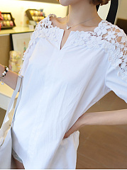 Spring Summer  Cotton  Women  V-Neck  Decorative Lace  Plain  Short Sleeve Blouses