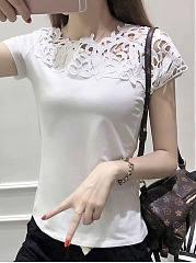 Cutout Patchwork  Plain Short Sleeve T-Shirts