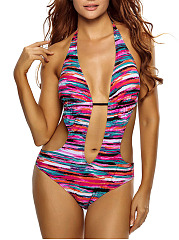 Halter-Exposed-Navel-Hollow-Out-Printed-One-Piece