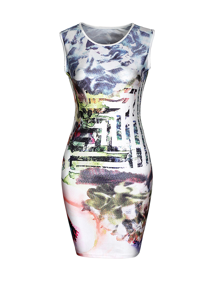 Fantastic Round Neck Abstract Print Bodycon Dress