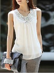 Round-Neck-Beading-Glitter-Plain-Sleeveless-T-Shirt