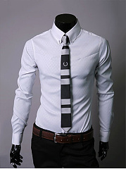 Office Basic Turn Down Collar Plain Men Shirt