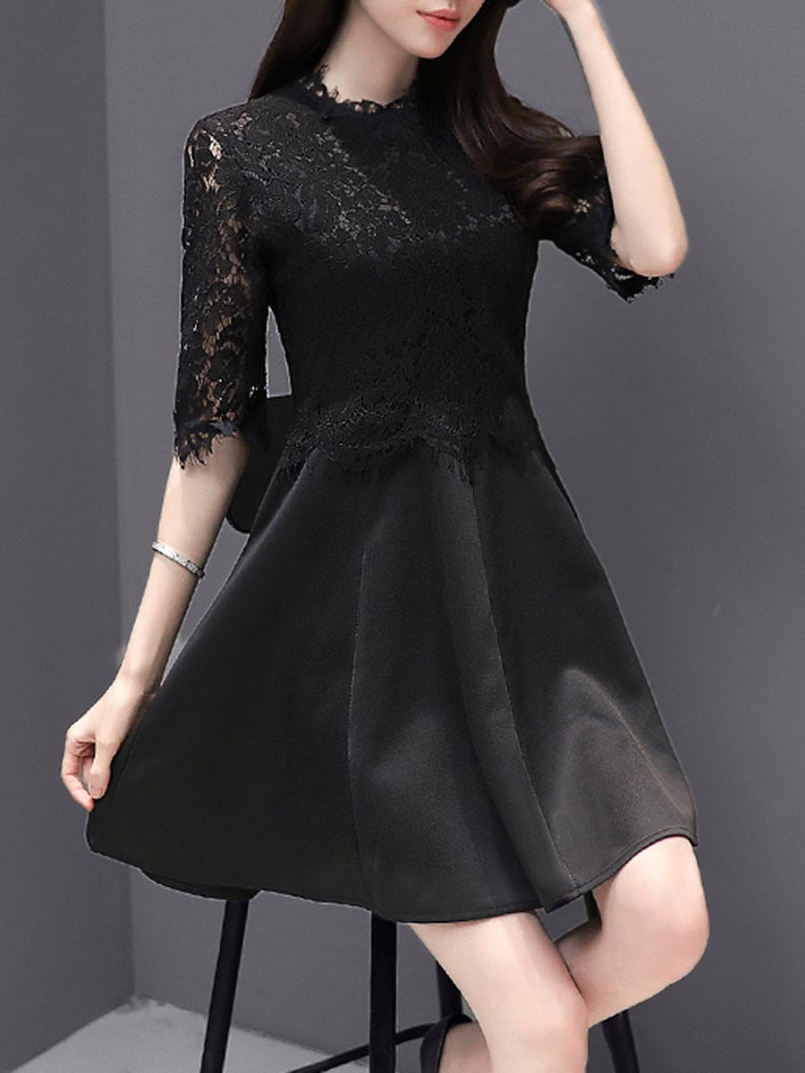 Band Collar Patchwork Hollow Out Plain Half Sleeve Mini Skater Dress
